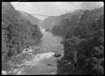 View of the Waikato River with the Arapuni Power Station in the distance, circa 1928.