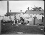 Volunteers doing Plunket washing during the 1918 influenza epidemic, Armagh Street, Christchurch