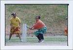 Vitoria and Mativa Faasoo playing Samoan style cricket, or kirikiti, at Wakefield Park, Island Bay, Wellington - Photograph taken by Ray Pigney