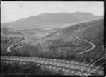 """Railway line owned by the Taupo Totara Timber Company showing """"the corkscrew"""",  with five different levels visible at this point."""