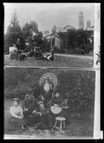 Hodgkins family at Ravensbourne, Dunedin - Photograph taken by F L Jones; Hodgkins family at Cranmer Lodge, Dunedin - Photograph taken by Cower