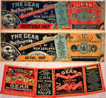 Gear Meat Company :[Three labels for Vegetable soup; Ox-tail soup; and, Cooked ox tongue]. Gear Meat Preserving & Freezing Company of New Zealand, Wellington New Zealand. [1890-1920].
