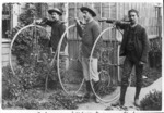 H A F Jackson, J Alexander and A G Jackson with penny farthing cycles