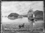 Photograph of a painting depicting the arrival of the Philip Laing at Port Chalmers 15 April 1848, with the John Wickliffe at anchor.