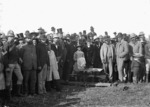 Digging the first sod for the Main Trunk Railway, at the confiscation line at the southern bank of the Puniu River