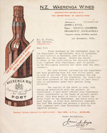 N.Z. Waerenga Wines, manufactured and bottled by the Department of Agriculture. Distributed by James J. Joyce ... Auckland. [Circular letter to Mr W. Field, The Terrace, Wellington]. 1st November 1934.