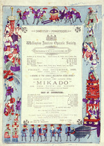 Wellington Amateur Operatic Society :Mikado, or the town of Titipu. Friday 14th December 1888 (being eighth night of season). Bock & Cousins, Printers, Brandon Street.