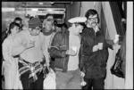 Crew members of Russian cruise ship the Mikhail Lermontov arrive at the Overseas Passenger Terminal, Wellington - Photograph taken by John Nicholson