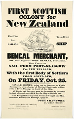 First Scottish colony for New Zealand. That fine teak-built fast sailing ship Bengal Merchant ... will positively sail from Port-Glasgow for New Zealand ... on Friday, Oct. 25.  1839.  [Reprinted] Copyright People's Palace Museum, Glasgow Green [ca 1981].