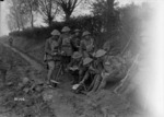 New Zealand soldiers sending word by telephone, Le Quesnoy, France