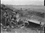 New Zealand soldiers around a billy in a strong post, near Mailly-Maillet, France, during World War I
