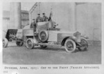 World War I soldiers, including Anthony Wilding, in an armoured Rolls Royce car, Dunkirk, France