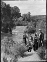 Tourist party beside Waikato River