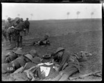 New Zealand officers study maps during a training exercise, World War I
