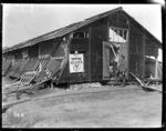 Exterior of New Zealand YMCA hut hit by shellfire
