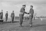 General Freyberg congratulating Lieutenant Colonel E K Norman on being awarded the Military Cross, Volturno Valley, Italy - Photograph taken by George Kaye