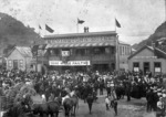 Crowd outside Revington's Hotel in Greymouth