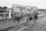 Karori Normal School children taking off for the holidays