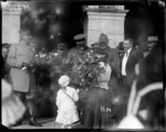 New Zealand receiving a bouquet at the Fete National celebrations in France during World War I