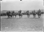 Starting the mules' steeplechase at the New Zealand Divisional sports, France