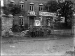 Soldiers outside the New Zealand YMCA in Beauvois, France, World War I