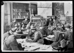 Soldiers inside the YMCA library in Beauvois, France, World War I