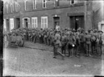 A queue outside the army canteen in Beauvois, France, World War I