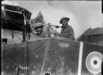 Pioneer Battalion soldiers in the cockpit of a downed Bristol fighter F2B during World War I