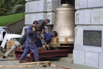 Moving the new carillon bell into the foyer of the National War Memorial, Wellington - Photograph taken by Ross Giblin