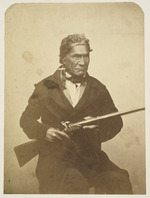 Crombie, John Nichol, 1827-1878. Attributed works :Patuone. Brother of the loyal and faithful chief Tamati Waka, uncle of Pomare, who as soon as he saw my portrait immediately recognised the feature and  rubbed noses with it  at Tottenham. [Between 1855 and 1862].