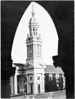 St Andrew's Presbyterian Church, Auckland, seen through the doorway of the Supreme Court