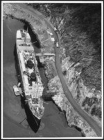 Aerial view of the `Wanganella' in Deep Cove, Doubtful Sound