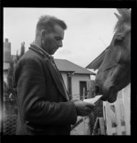 Laurie Walker and horse, Manuka point Station