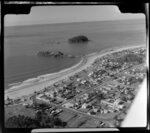 """Mount Maunganui, showing surf beach, """"the blowhole"""" amd Motuotau Island"""