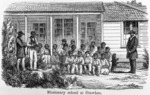 Wood engraving showing a group outside a missionary school at Otawhao