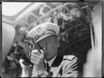 Unidentified crew member, of the seaplane, Centaurus, using a sextant, Imperial Airways Ltd.