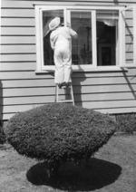woman painting her window. Ponsonby Rd 1972.tif