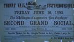 Wellington Co-operative Bus Employes' [sic] second grand social, Thomas' Hall,  Friday June 16, 1893.