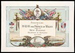 Brett Printing and Publishing Company Ltd :Souvenir of H R H The Prince of Wales visit to New Zealand, Reception in Auckland April 1920. Advance Auckland; Onward New Zealand. Brett litho, Auckland, N.Z.