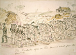 Robley, Horatio Gordon  1840-1930 :The Manchester rifles on there [sic] famious [sic] march from the front &c.  [1845. Painted after 1863]