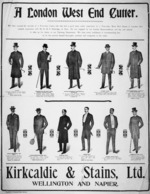 Kirkcaldie & Stains Ltd. :A London West End cutter. We have secured the services of a first-class cutter, who has had a good many years' experience in a first-class West End House in London, also valuable experience with Mr R M F Etheridge of Paris. [1903-1906].