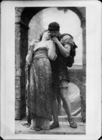 Photograph of print of Edwardian painting of young lovers on castle balcony, where the man is wearing a leopard skin