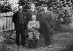 Preen, Edith, fl 1907 :Photograph of Dai Mitchell, Peter Buck, Frederick Bennett and Johann Baucke