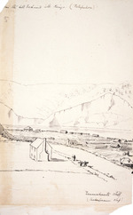 Collinson, Thomas Bernard  1822-1902 :From the hill behind Mr King's (Patupuhou). Taumahaute cliff (Shakespeare Cliff). [1847]