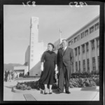 Mayor of Lower Hutt Mr Dowse and wife Mary outside the new Civic buildings, Lower Hutt, Wellington