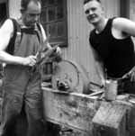 Sharpening shearers' blades, Grasmere Station, near Cass, Canterbury