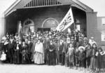 Maori group at the opening of the meeting house at Papawai Pa, Greytown