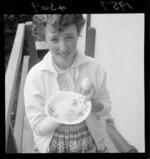 Shirley Gotlieb with a four-yolk egg