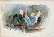 Isabel Jane Hodgkins, 1867-1950, Boy reading, 188-
