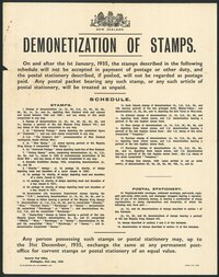 New Zealand Post Office: Demonetization of stamps. On and after the 1st January 1935, the stamps described in the following schedule will not be accepted ... Any person possessing such stamps or postal stationery may, up to 31st December 1935, exchange the same at any permanent post-office for current stamps or postal stationery of an equal value. General Post Office, Wellington, 23rd July 1934. 2,450/7/34 - 4208.